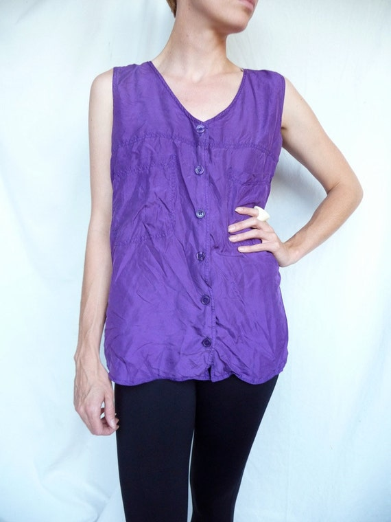 Silk Purple Shell Tank Blouse Button up With Pockets