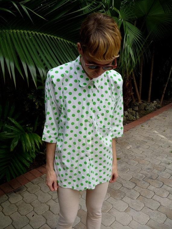 80s Gitano White Cotton With Neon Green Polka Dot Shirt