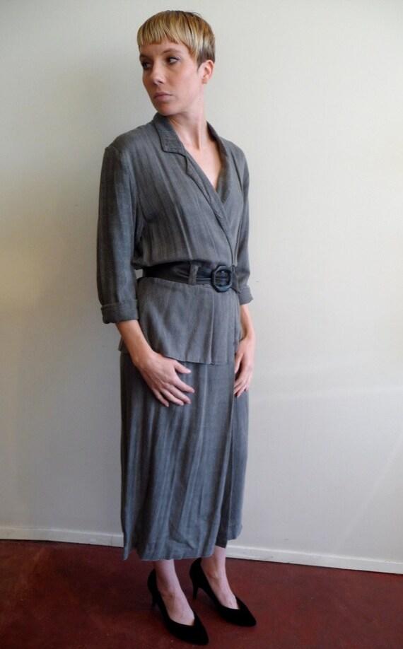 80s Gray Linen Peplum Shirt Dress