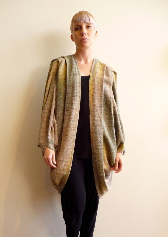 Gorgeous Muted Pastel Handwoven Silk Ikat Dolman Cocoon Coat Designer Candiss Cole