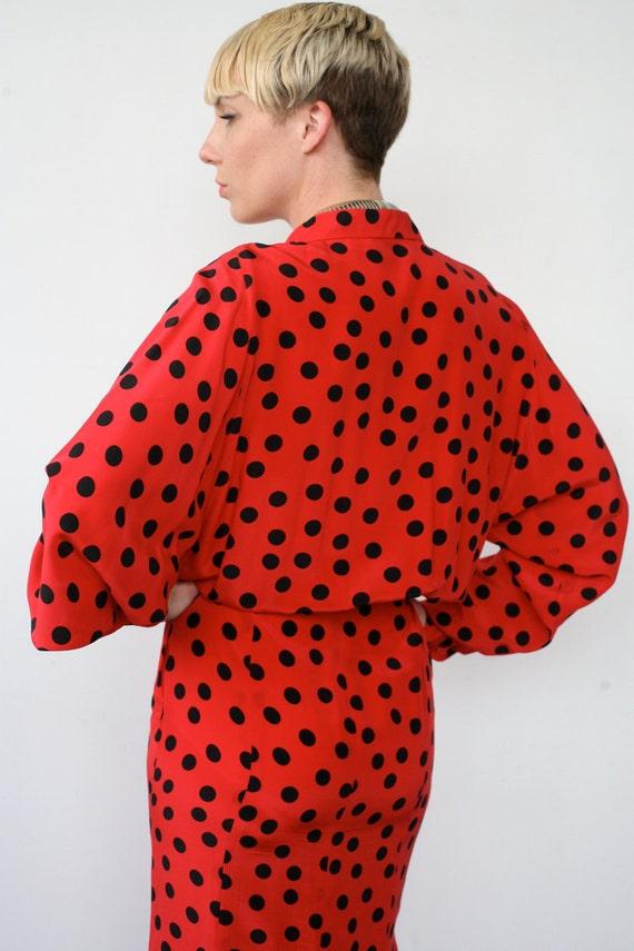 80s Red and Black Polka Dot Silk Dolman sleeve Dress