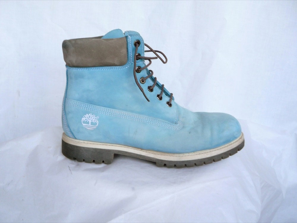 Men's Size 12 Rare Baby Blue Timberlands Work Boots