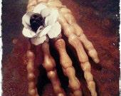 Hand Ring. Creepy Plastic Skeleton Hand Vintage Flower and Carved Skull Adjustable Cocktail Ring.  CREEP. OOAK