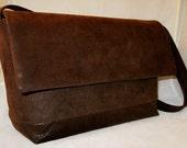 Chocolate Brown Faux Leather Handmade Handbag by FaithHeart
