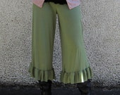 The Wide Leg Gaucho Pantaloons in Bamboo Jersey Knit :Made to Order Eco Friendly Bloomers Sz. Sm Med Lg XL