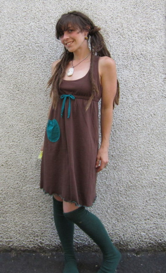 Bamboo Babydoll Dress w/ Racer-Back Jersey Knit :Made to Order Eco Friendly Sz. Sm Med Lg XL Organic Empire Waist
