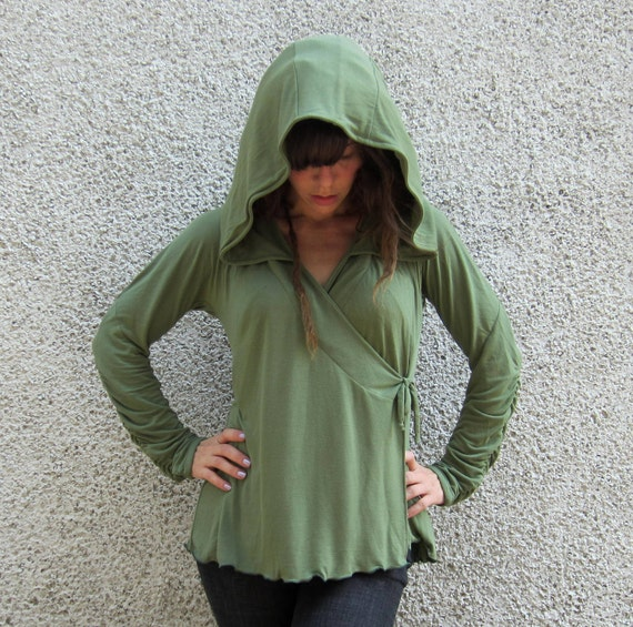 The Woodland Bamboo Wrap Hoodie Multi Panel Back Ruched Sleeves: Made to Order Eco Friendly Organic Sz. Sm Med Lg XL XXL