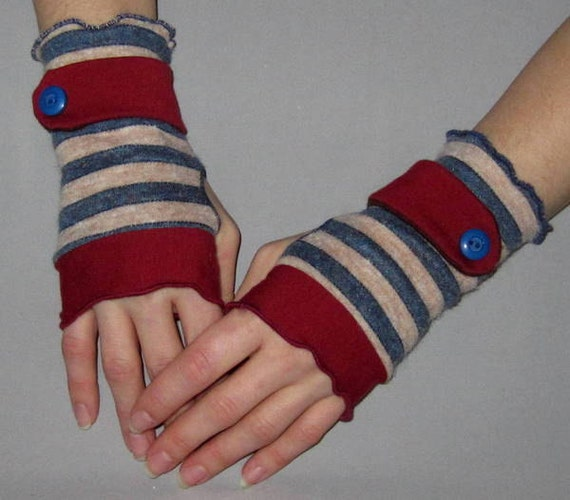 On SALE: Blue and Tan Striped Burgundy Jersey Sweater Knit Wrist Cuffs- Fingerless Gloves - Arm Warmers
