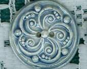 Cobalt Blue porcelain Round Swirled Textured Buttons