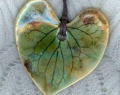 Real Leaf Pendant, Amber and Green Stoneware Leaf  Pendant Necklace