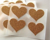 envelope seals - gold glitter heart stickers