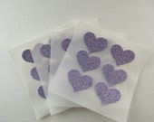 envelope seals - small lavender glitter heart seals - stickers