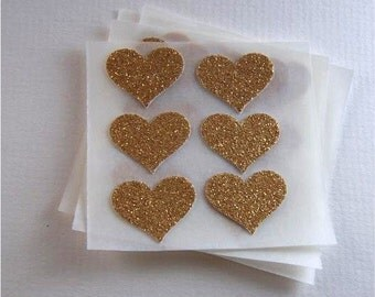 envelope seals - small gold glitter heart stickers