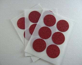 envelope seals - red round glitter stickers