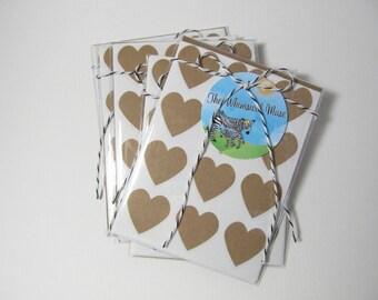 kraft heart stickers - set of 120