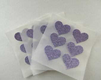 envelope seals - small lavender glitter heart seals - stickers