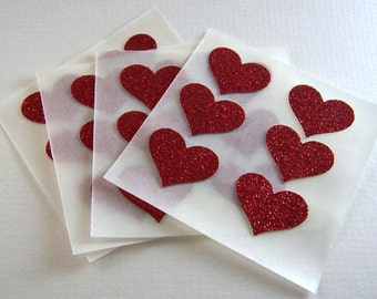 envelope seals - small red hot glitter heart stickers