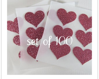 envelope seals - small pink glitter heart stickers - made to order