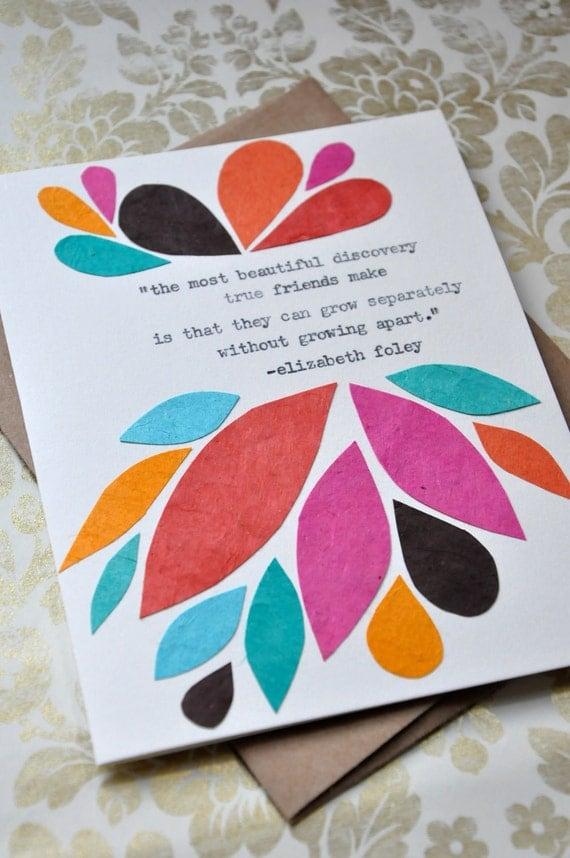 birthday card handmade greeting card friendship quote