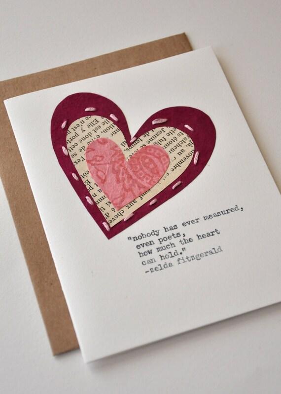 Handmade valentine anniversary card greeting