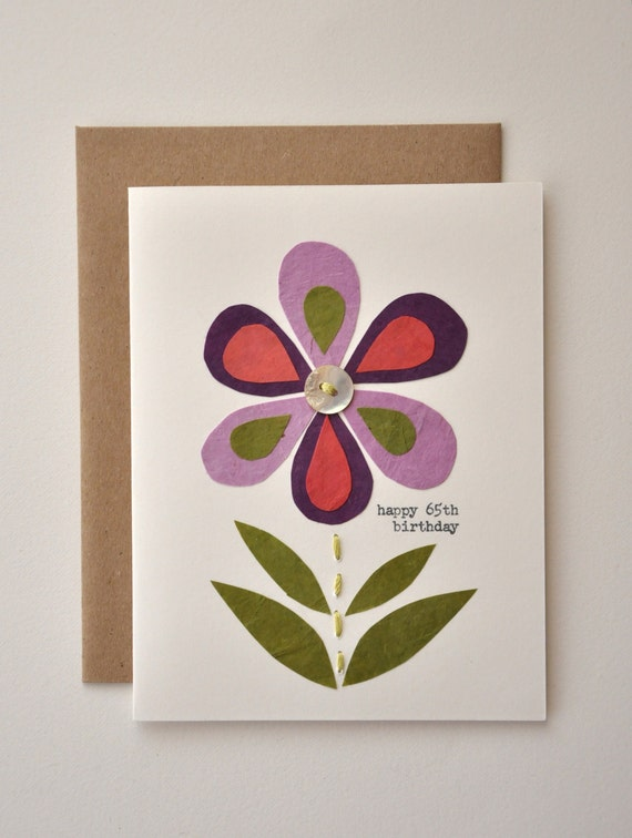 Birthday Card Handmade Greeting Card Happy 65th Birthday