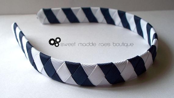 Woven Headband-Navy & White Stripes