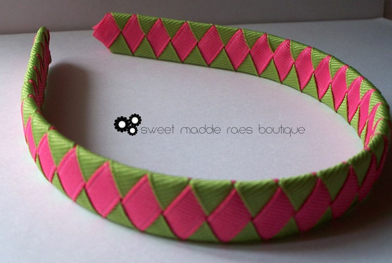 Woven Headband-Hot Pink and Apple Green