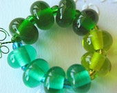 Lampwork glass spacer beads- green mix