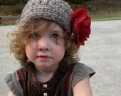 Clearance Brown Newsboy Hat with RED ROSE Flower Clip Baby Girl 12-24 Months