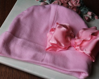 Clearance SALE Newborn Baby Girls Pink Bow Cotton Beanie Great PHOTOGRAPHY PROP