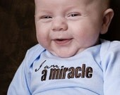0 to 3 Month I am a Miracle Baby Blue Long-Sleeved Bodysuit, Adoption Apparel, Adoption Gifts, Baby Shower Gifts