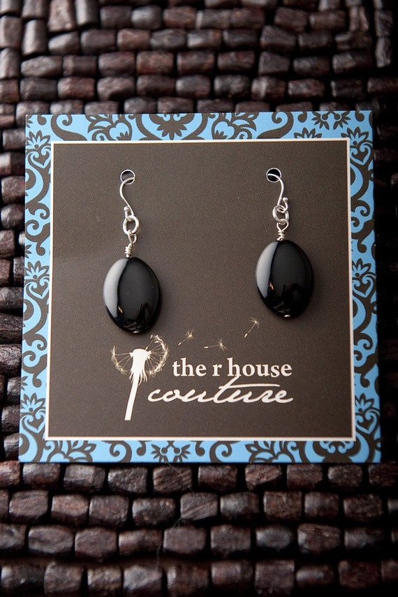 FREE SHIPPING Smooth Black Glass Earrings with Sterling Silver Findings