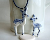 Deer and fawn set - Handpainted Delft porcelain necklace and brooch.