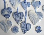 Striped  Porcelain Heart Pendant-  Handmade &  Handpainted Blue Delft
