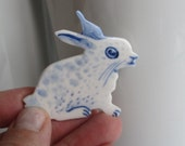 Bunny Brooch - Handpainted Blue  Delft Porcelain
