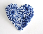 Heart Brooch - Handpainted Blue Delft Porcelain
