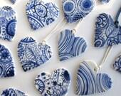 Heart - Delft Blue  handpainted porcelain  necklace