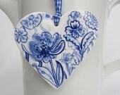 Porcelain  Heart -  Blue Delft Wall hanging/ornament