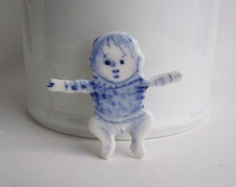 Sale - Baby Girl -  Handpainted Delft porcelain Brooch