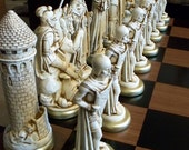 MEDIEVAL CHESS SET antiqued  ( 9 inch King Arthur )..... FREE SHIPPING
