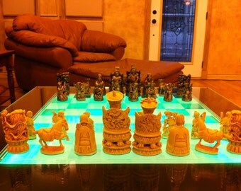 """6.5"""" king// CHINESE Chess Set """"Antiqued ivory & bronze look"""""""