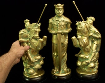 """15"""" king// MEDIEVAL Chess set.  Bronze & Pewter look"""