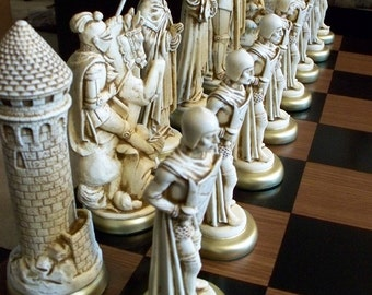 "9"" king// MEDIEVAL Chess Set  ""antiqued"" FREE SHIPPING"