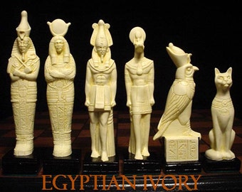 EGYPTIAN CHESS SET. Large ( 7.5 inch king )  Antique Ivory and Gold look.