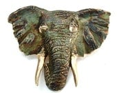 Elephant Brooch Vintage Jewelry Safari Africa Wildlife Pendant ((Free Shipping USA))