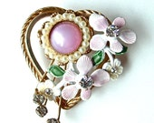 Vintage Heart Brooch Old Fashioned Valentines Day on a Spring Day Gold Tone Heart with Rhinestones and Lavender Lilacs Brooch ((Free Shipping USA))