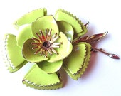 Vintage Floral Brooch Lime Chartreuse Green Burlesque Girl Flower with Layered Petals ((Free Shipping USA))