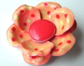Polka Dot Flower Brooch Vintage Jewelry Peach Pink Enamel Shabby Chic Germany Daisy Pin ((Free Shipping USA))