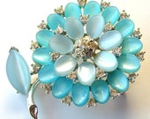 Vintage Signed Brooch Sky Blue and Rhinestones Thermoset Flower Brooch ((Free Shipping USA))