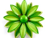 RESERVED Vintage Blossom Brooch Lime and Spring Green Layered Flower Vintage Brooch ((Free Shipping USA))